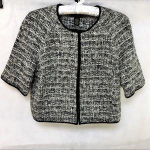 Faith & Zoe 3/4 Sleeve Blk/White Tweed Coat - S 12